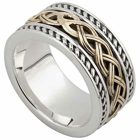 Celtic Ring - Men's Sterling Silver and 10k Gold Celtic Knot Band