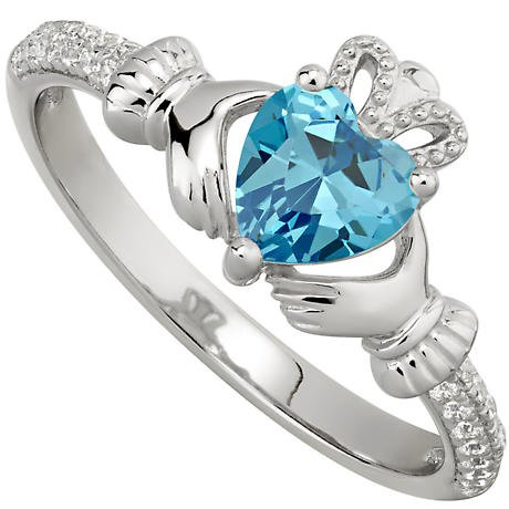 Irish Ladies Sterling Silver Crystal Birthstone Claddagh Ring