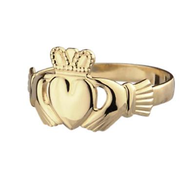 Irish Claddagh Ring - 9k Yellow Gold Ladies Dainty Claddagh Ring