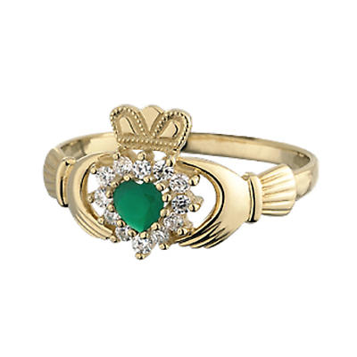 Claddagh Ring - Ladies 10k Gold with Green Agate and CZ Claddagh
