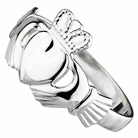 Claddagh Ring - Ladies 14k White Gold Maids Claddagh