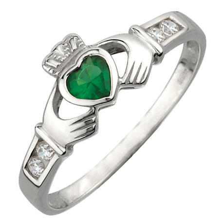 Claddagh Ring - Ladies Sterling Silver and Emerald Heart Claddagh
