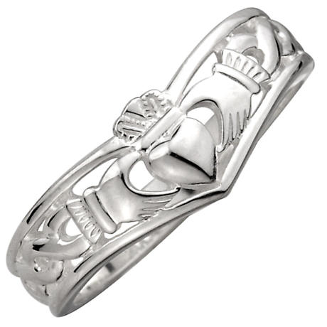 Claddagh Ring - Ladies Sterling Silver Celtic Claddagh Wishbone