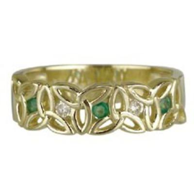 Trinity Knot Ring - 10k Gold with Emeralds and CZ Trinity Knot