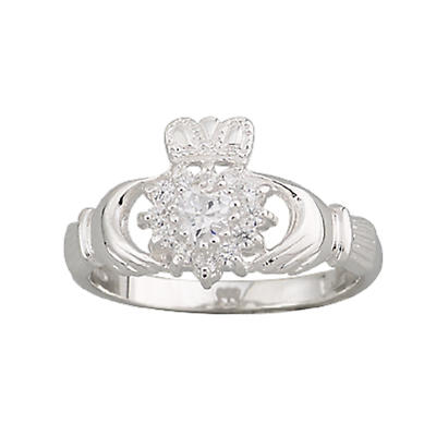 Claddagh Ring - Ladies Sterling Silver and CZ Cluster Claddagh