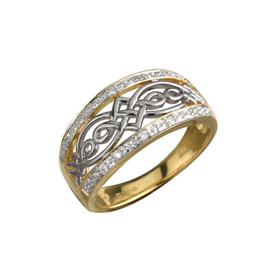 Celtic Ring - Ladies 14k Yellow and White Gold Diamond Celtic Knot Band