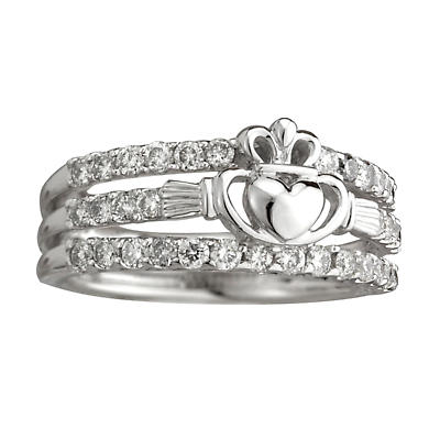Claddagh Ring - Diamond 14k White Gold Ladies Irish Claddagh Ring