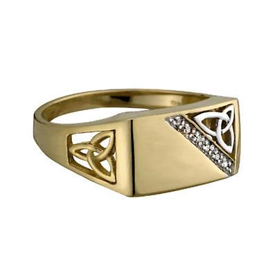 Celtic Ring - Mens 14k Gold and Diamond Trinity Celtic Knot Irish Ring