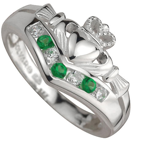 Claddagh Ring - Ladies Sterling Silver with CZ and Emerald Claddagh Wishbone