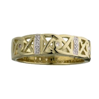 Celtic Ring - Mens 14k Gold Celtic Trinity Knot Diamond Irish Ring