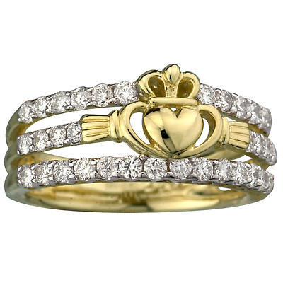 Claddagh Ring - Diamond 14k Gold Ladies Irish Claddagh Ring