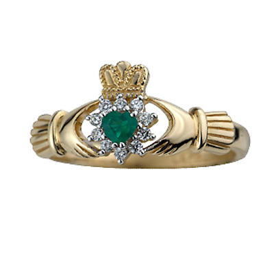 Claddagh Ring - 9k Gold Real Agate and Cubic Zirconia Ladies Irish Claddagh Ring