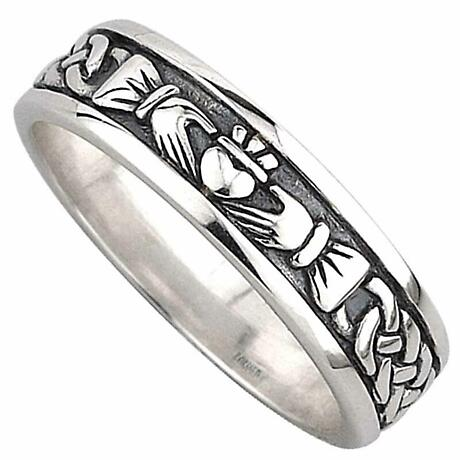 Claddagh Ring - Ladies Sterling Silver Celtic Claddagh Wedding Band