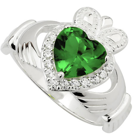Claddagh Ring - Sterling Silver Crystal Heart Claddagh Ring