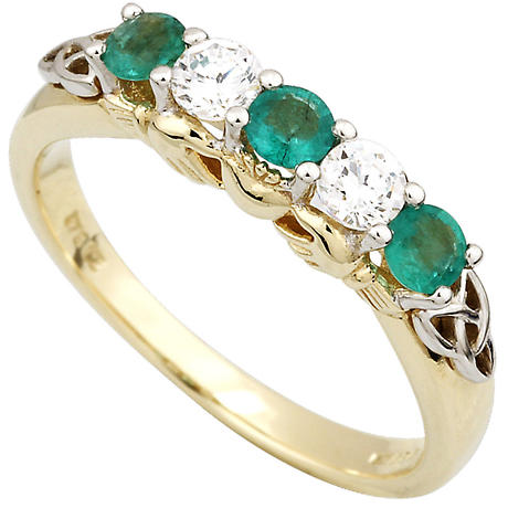 Claddagh Ring - 10k Gold Synthetic Emerald & CZ Claddagh Eternity Ring