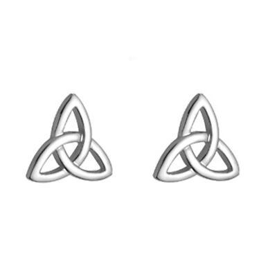 Celtic Earrings - 14k White Gold Trinity Knot Celtic Earrings
