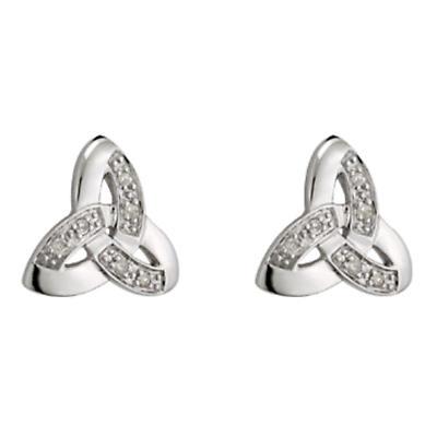 14k White Gold Trinity Knot Diamond Stud Earrings