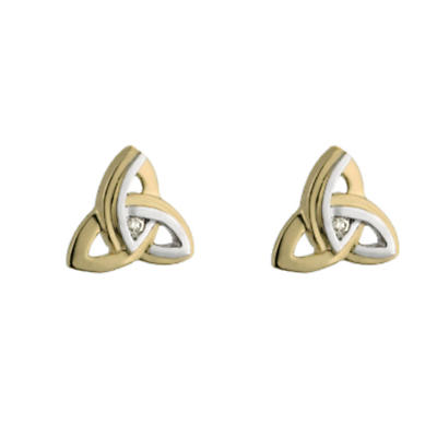 14k Yellow and White Gold Diamond Trinity Knot Stud Earrings