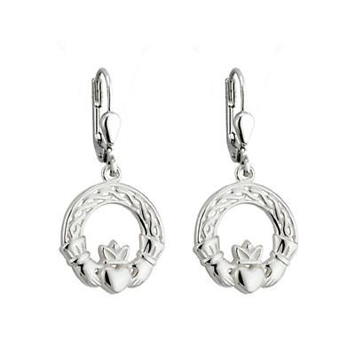 Celtic Earrings - Sterling Silver Celtic Claddagh Earrings