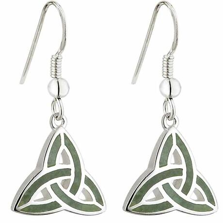 Celtic Earrings - Connemara Marble Trinity Knot Earrings