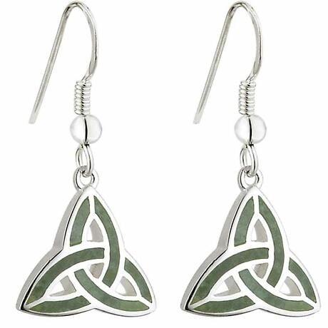 Celtic Earrings - Connemara Marble Trinity Knot Earrings