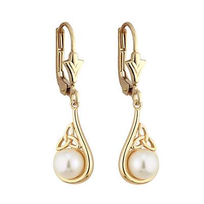 Trinity Knot Earrings - 14k Gold Trinity Knot Pearl Irish Earrings