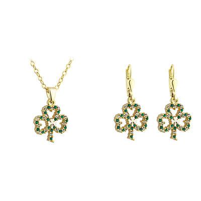 St. Patricks Day - Irish Jewelry Gold Plated Shamrock Earring and Pendant Set