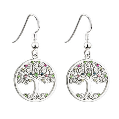 Celtic Earrings - Tree of Life Rhodium Plated Colored Crystals