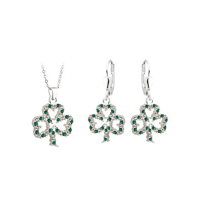 St. Patricks Day - Irish Jewelry Silver Plated Shamrock Earring and Pendant Set with Sparkling Crystal