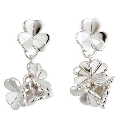 Irish Earrings - Sterling Silver Fusion Small Shamrock Drop Earrings