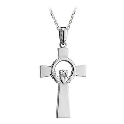 Celtic Pendant - Sterling Silver Claddagh Celtic Cross Pendant with Chain