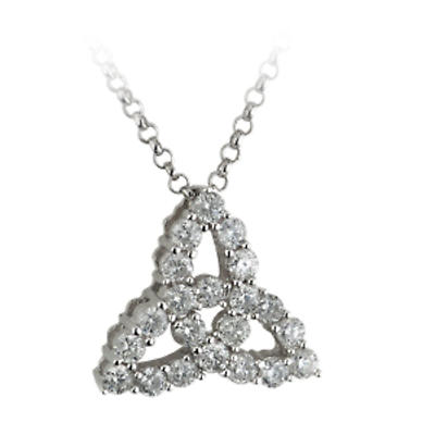 Celtic Pendant - 18k White Gold and Diamond Trinity Knot Necklace with Chain