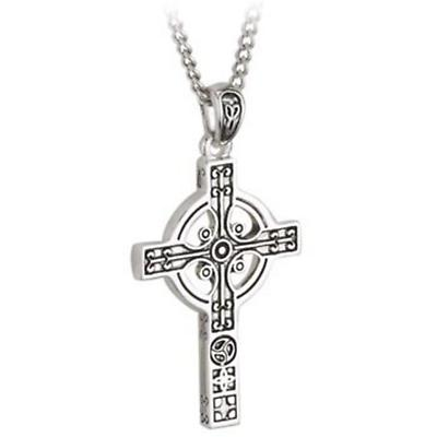 Celtic Pendant - First Communion Stainless Steel Modern Celtic Cross Pendant with Chain