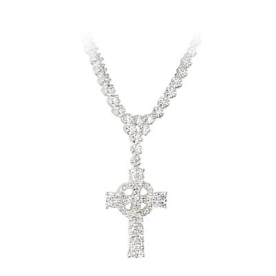Celtic Pendant - Cubic Zirconia Encrusted Sterling Silver Celtic Cross Necklace