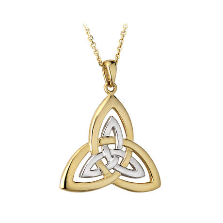 Celtic Pendant - 14k Gold Two Tone Trinity Knot Pendant with Chain