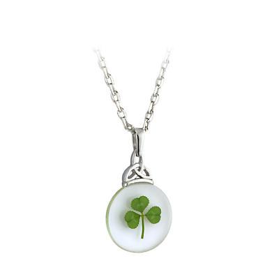 St. Patricks Day Pendant - Real Shamrock Irish Trinity Knot Necklace
