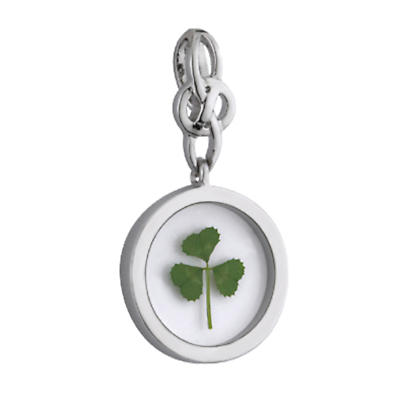 Irish Necklace - Silver Plated Real Shamrock Pendant with Chain