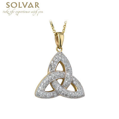 Ladies Trinity Knot Celtic Pendant in 14K Yellow Gold. This sparkling Irish necklace features a Trinity Knot, also known as the Celtic Knot, encrusted with stunning micro diamonds.