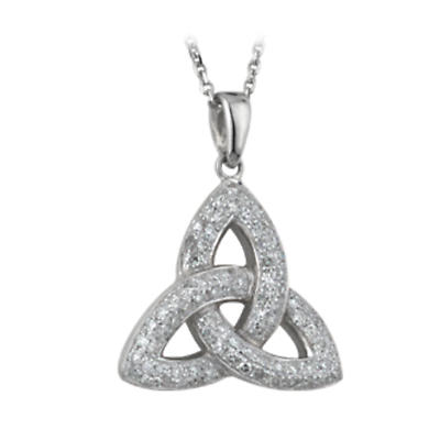 Celtic Pendant - 14k White Gold and Micro Diamonds Trinity Knot Pendant with Chain