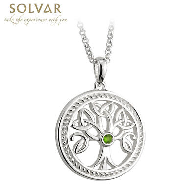 Celtic Pendant - Sterling Silver Tree Of Life Trinity Knot Pendant with Chain