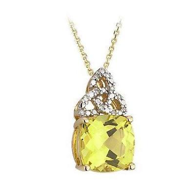 Irish Necklace - 14k Yellow Gold Topaz with Trinity Knot Diamond Celtic Pendant