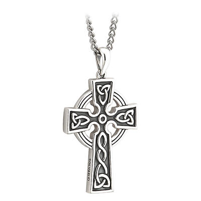 First Communion Sterling Silver Embossed Double Sided Celtic Cross Pendant with Chain