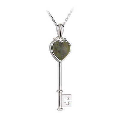 "Irish Necklace - Sterling Silver and Connemara Marble ""Key to the Heart"" Pendant with Chain"