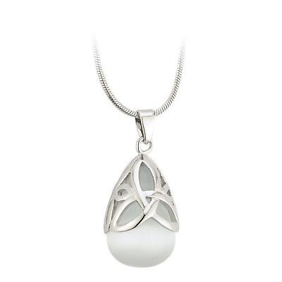 Irish Necklace - Silver Plated Trinity Knot Cat's Eye Celtic Pendant
