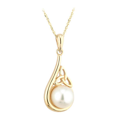 Celtic Pendant - 14k Gold Trinity Knot Pearl Pendant with Chain