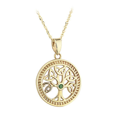 "Celtic Pendant - 10k Gold Celtic ""Tree Of Life"" with Emerald Pendant with Chain"