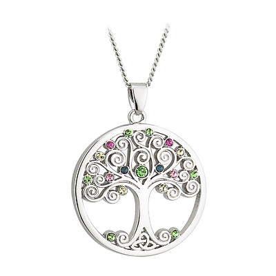Celtic Pendant - Tree of Life Rhodium Plated Colored Crystals