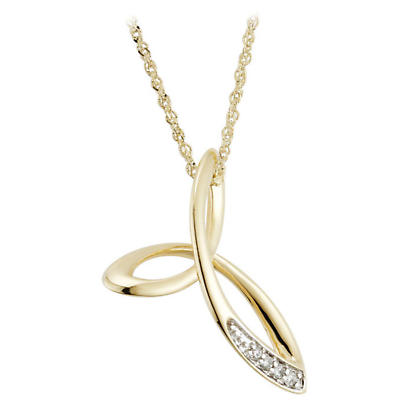 Irish Necklace - 14k Gold Diamond Fusion Celtic Trinity Knot Pendant