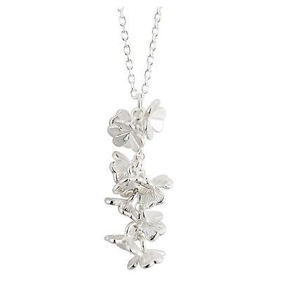 Irish Necklace - Sterling Silver Fusion Long Shamrock Irish Pendant