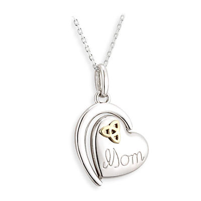 Irish Necklace - Sterling Silver and 18k Gold Trinity Knot Mom Irish Pendant